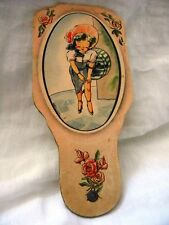 VINTAGE HAND FAN COLORFUL ADVERTISING TRI FOLD YOUNG LADY PAPER
