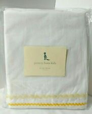 Pottery Barn Kids White & Yellow Ric Rac Trim Crib Bed Skirt New Unisex