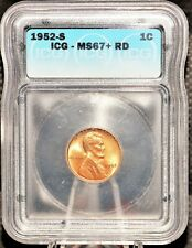 1952s Lincoln Wheat Cent ICG Certified MS67+ Red PCGS Valued at $2,750.00 RARE