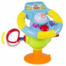 Toy Steering Wheel Kids with Mirror Lights Music and Various Sounds, Suction Cup