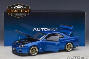 In Stock 1:18 AUTOart 77409 NISSAN SKYLINE GT-R R34 V-SPEC II BAYSIDE BLUE