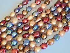8x9mm Large Hole Freshwater Pearls Beads Oval Nugget 2.1mm Hole Multi Color #898
