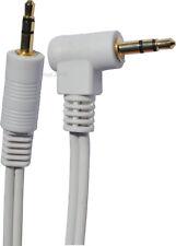 1 metre 3,5mm Droit / Coude TRS Jack stéréo Prise Cable Cordon BLANC Contacts Or