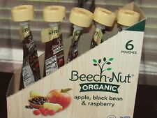 BEECH-NUT ORGANIC APPLE,BLACK BEAN, & RASPBERRY 5 POUCHES STAGE 2 BABY FOOD