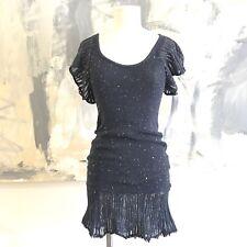 Free People Knit Speckled Navy Ruffle HEM Short Dress XS SEMI SHEER