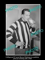 OLD POSTCARD SIZE PHOTO OF COLLINGWOOD GREAT MURRAY WEIDEMAN IN MILK PROMO 1960