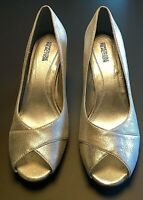 Kenneth Cole Distressed Metallic Silver Leather Open Toe Heels Shoes Size 10 M
