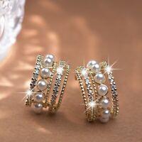 18k yellow gold  stud made with Swarovski crystal fashion pearl huggies earrings