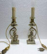 Pair Of Beautiful Candle Holders Bronze Xixè Lions Mounted IN Lamps Candlesticks