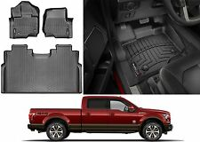 Black WeatherTech Front & Rear Floor Liners For 2015-2017 Ford F-150 SuperCrew