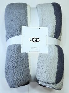 UGG ROSALEEN Striped Queen Blanket greys/slate/cream New Sherpa Faux Shearling