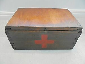 Vintage wooden First Aid box, painted red cross, with contents
