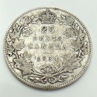 1934 Canada 25 Silver Twenty Five Cents Quarter King George V Canadian Coin G157