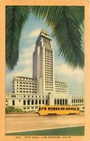 Linen Postcard CA E361 1948 City Hall Los Angeles Art Deco Building Architecture