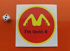 "mcdonalds funny style ""im loving it"" sticker vw volkswagen 100mm round, bumper"