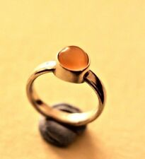 Pot ring Totally hand made solid sterling silver  Peach moonstone size O,