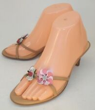 Ann Taylor LOFT Wos Shoes Heels US6M Beige Leather Floral Sandals Formal Wedding