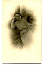 Young Lady Named Ethel-Bench Chair-Xmas 1911 RPPC-Vintage Real Photo Postcard