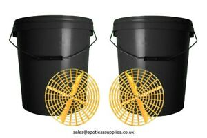 Detailing Bucket With Grit Guard x2 20L Valeting Car Wash Cleaning Black Lid Ltr