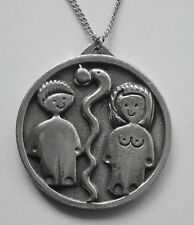 Disc apple & serpent (40mm) pendant Chain Necklace #1304 Pewter Adam & Eve