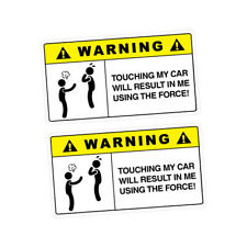 2X WARNING THE FORCE Sticker Decal Car Drift Turbo Euro Fast Vinyl #1137A