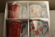 Christmas Tableware - Set 4 Large Red White China Christmas Xmas Decorated Mugs
