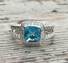 David Yurman Petite Albion Ring With Blue Topaz And Diamonds Size 6