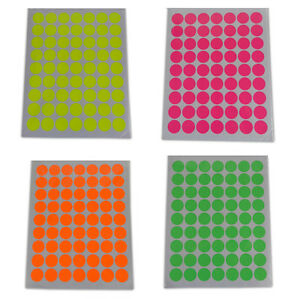 Round Sticky Dot Labels Neon Coloured Labelling Sticker Circles Fluorescent