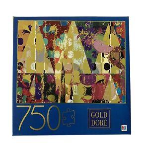 Gold Dore Triangles 750 Piece Metallic Gold Geometric Art Jigsaw Puzzle