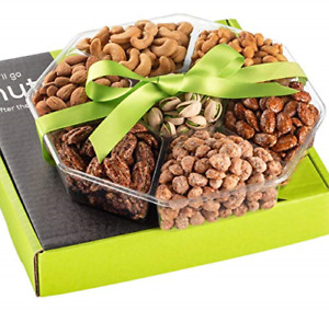 Holiday Christmas Nuts Gift Basket - Fresh Sweet & Salty Dry Roasted Gourmet - &