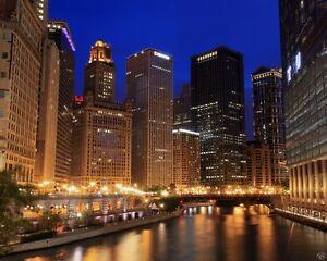 Poster Chicago River Illinois Blue Hour Sunset Fine Art 8x10 Print