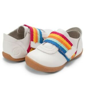 NIB Livie & Luca Champ Bright White Rainbow Leather Shoes Size  8