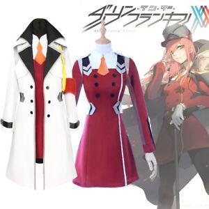 DARLING in the FRANXX Zero Two CODE 02 Uniform Coat Cosplay Costume+Headwear