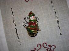 boule de noël bonhomme de neige ancien avec grelot suspension sapin lutin