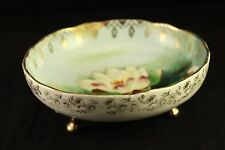 Antique Royal Rudolstadt Prussia Porcelain Water Lily-Lotus Footed Bowl Signed