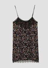Zara Woman Floral Printed Camisole Dress, New V-neck lace Black Large Dress