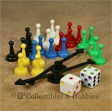 NEW 28 Board Game Parts Set - 24 Pawns 2 Spinners & 2 Dice