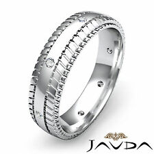 Bezel Round Diamond Mens Solid Eternity Ring Wedding Band 14k White Gold 0.16Ct