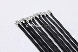 10 colliers NOIR 35cm inox pour bande thermique echappement isolant collecteur