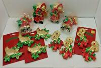 (12) Vintage Style 50s Style Plastic Christmas Ornaments - Santa, Candles, Birds