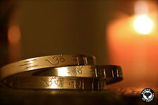 Hand Forged Brass Cuff Bracelet From India - Engraved Hindu Mantra