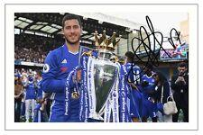 Eden Hazard Chelsea 2016/17 Campeones autógrafo firmado foto impresión de fútbol