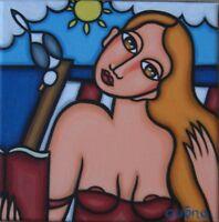 """20x20 Tableau Guena peinture acrylique art """"LECTURE BORD DE MER"""""""