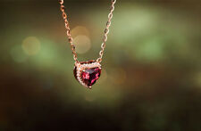 Noble Jewel Heart Shaped Ruby 925 Sterling Silver Necklace Plated with Rose Gold