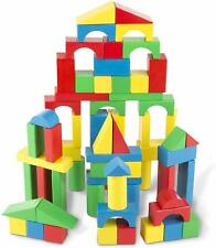 100 Piece Wooden Building Blocks Toy Set Classic Toys Kids Games Great Gift