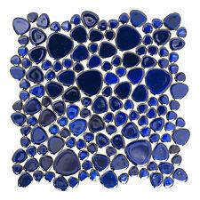 KEM Mosaik Mosaikmatte Keramikmosaik Kiesel uni kobaltblau 280 x 280mm glänzend
