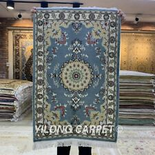 Yilong 2'x3' Blue Handmade Silk Carpet Dining Room Handcraft Luxury Rugs 116C