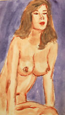 Vintage watercolor painting impressionist nude woman portrait