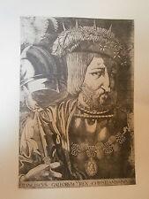 Planche gravure Moyen age Portrait de François Ier en 1536 Par J.Prévost de Gray