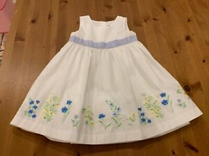 Janie & Jack Girls 3T White Lined Floral Embroidery Dress 2005 Vintage